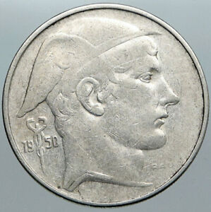 1950 BELGIUM with MERCURY Hermes VINTAGE Silver 20 Francs Belgian Coin i88970