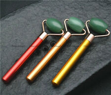 Natural Green Aventurine Energy Stone Face Roller Health Massage Metal Shank