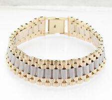 "8.25"" Mens Solid RLX Style Designer Railroad Bracelet Real 14K Two-Tone Gold"