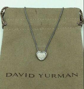 David Yurman Petite Pave Diamonds Sterling Silver Heart Necklace