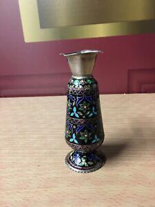 Antique Old Flower Vase Handmade Indian Enamel Work 925 Sterling Silver