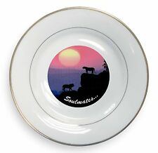 Soulmates' Lions at Sunset Gold Rim Plate in Gift Box Christmas Prese, SOUL-81PL