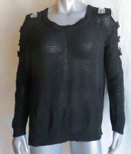 Womens Nollie Black Stripe Cold Shoulder Design Sweater Size XL