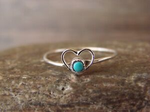 Zuni Indian Sterling Silver Heart Turquoise Ring Size 5 by Pablito