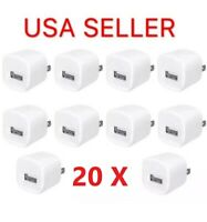 20 x 1A USB Home Wall Charger AC Adapter Plug For iPhone 5 6 7 8 X 11 MAX White