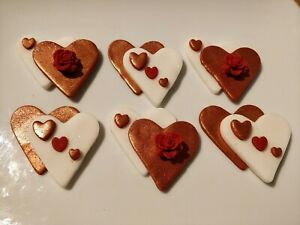 Valentine cake decoration toppers Edible   Hearts  6 items per set  cupcakes