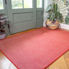 Plain Red Washable Rug Plastic Flatweave Outdoor Rugs Zero Pile Hall Runner Mat