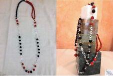 Collana donna pietre onice nero e  pino rosso, lunga, con catena