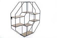 Octagonal Black Metal Wood Retro Display Cabinet Multi Shelf Storage Wall Unit