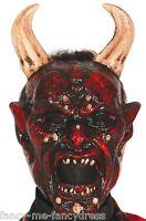 Mens Demon Devil Satan Horror Halloween Mask w/ Horns Fancy Dress Costume Outfit