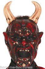Hombre Demonio diablo satanás Halloween Terror Máscara con / CUERNOS DISFRAZ