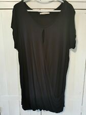 George At Asda Black Draped Keyhole Neckline T-shirt, Longline. Size 18