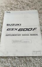 1992 Suzuki Gsx600F Gsx 600F Katana Supplementary Repair Service Shop Manual Oem