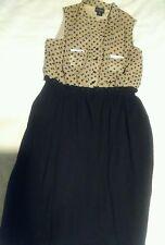 black brown polka dots polyester front buttons, pockets, Enfocus studio,