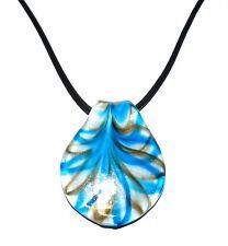 "MN432L Blue & Gold Swirl White Lampwork Glass Spoon Pendant 18"" Cord Necklace"