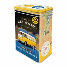 Vintage Style Retro Embossed VW Camper Tin with Clip Close Lid - Let's Get Away