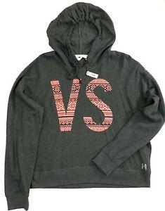 Victorias Secret  ANGEL Logo Sweatshirt Semi Crop Hoodie Jacket Sz Large