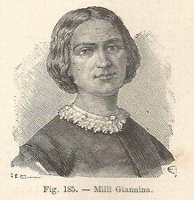 B1422 Giannina Milli - Incisione antica del 1928 - Engraving