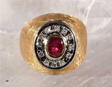 Ruby & Diamond Men's Dome Ring 14K Yellow Gold Size 6.75