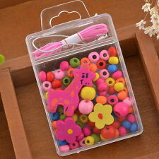 5Box Colorful Wood Beads Kit Giraffe Necklace Bracelet DIY Kids Craft Set