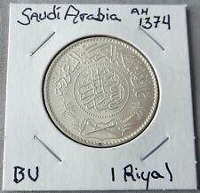1374/1954 Silver 1 Riyal from Saudi Arabia, Struck In Mecca, Scarce Coin