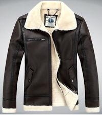 LJZ22 Mens Air Force pilot leather fur collar fleece jacket coat outwear trench