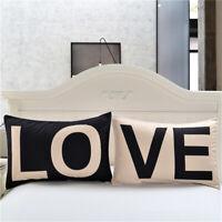 3D LOVE Pillowcase Polyester Simple Pillow Cover Couple Pillow Shams Set