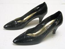 Vtg. 80s J. RENEE BLACK SNAKESKIN PUMPS DRESS HIGH HEEL SHOES 3001A Size 6N