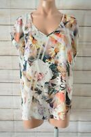 Katies Tunic Top Blouse Size 14 Brown White Pink Floral Short Sleeve