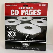 3 Ring Binder CD Pages Storage Organizer 25 Pack New Sealed Vaultz