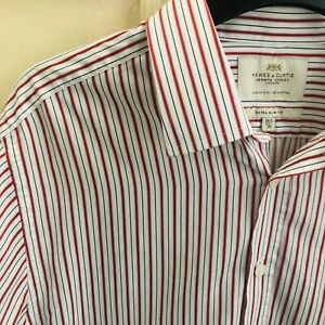 HAWES & CURTIS shirt extra slim fit size 16.5/36 luxury cotton red white striped