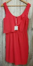 NEW! LADAKH Dress 8 Pink Coral Fully lined Frills Elastic Waist Casual Party