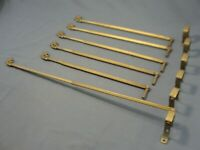 3 Pairs Antique Art Deco Era Curtain Rods Arms Swing Out Swivel Gold Extendable