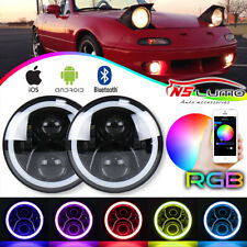 "LED 7"" Headlight Bluetooth RGB Halo Light For 1990-97 Mazda Miata MX5 MX-5 H6024"