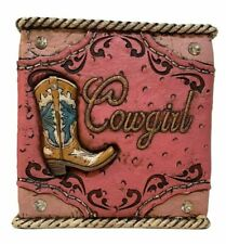 Western Cowgirl Boot Tissue Box Holder Studs Horseshoe Rope Pink Gift
