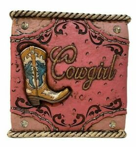 Western Cowgirl Tissue Box Holder Studs Boot Horseshoe Rope Resin Pink Gift