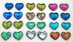 SMALL HEART Lot of 24 pcs handmade DICHROIC earrings FUSED GLASS (E1) cabs