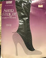 Pattern Black Pantyhose Hosiery Nylons Sheer Intrigue B C Diamond Print VTG