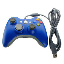 New USB Wired Game Controller For Microsoft Xbox 360 Windows PC Blue GamePad US