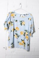 Dorothy Perkins Womens Floral Print Ruffled Short Sleeve Blouse - Size 14 (L-W5)