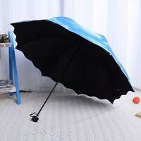 Damen Kompakt Faltbare Sonnenschirm UV-Schutz Schirme Blauer Himmel Regenschirm