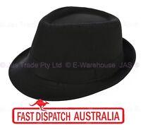 FEDORA TRILBY WEDDING GANSTER DANCE COSTUME HAT kid to Adults XXS XS S M L BLACK