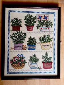 Handmade Cross Stitch 9 Potted Herbs Framed Art Picture Wall Hanging Kitchen