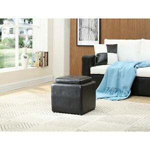 Faux Leather Single Storage Black Ottoman with 1-Flip over Serving Tray
