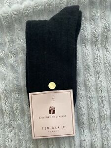 BNWT - Ted Baker Black Cashmer Socks With Button Detail - BRAND NEW!! RRP £29