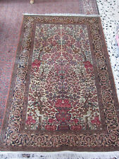 Antique  Hand Made Persian Isfahan Mobarake Wool Rug Carpet Nice 200x132-cm