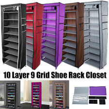 10-Tier 9 Lattices Shoe Rack Storage Cabinet Tower with Non-Woven Fabric Cover