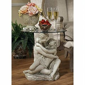 """KY401348 -In the Arms of Romance Occasional Table -18.5"""" Dia. Beveled Glass Top!"""