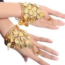 2X Belly Dance hand decoration Metal Ring Wrist Bracelet Bangle Gold Coins Link