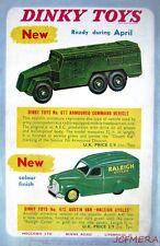 1957 Dinky Cars ADVERT 'Austin Van' & 'Armoured Command Vehicle' - Toy Print AD